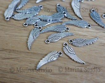 Lot 20 breloques ailes argent très détaillées en argent vieilli - argent ancien 17x5mm ms00275