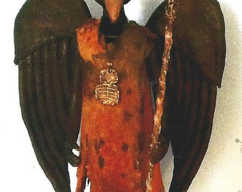 """SE902E - Standing Crow – 11"""" Painted Fabric Doll, Bird Doll Art Pattern - PDF Download by Susan Barmore"""