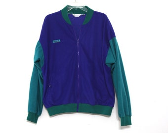 Vintage color block columbia jacket super soft fleece 80s 90s blue green