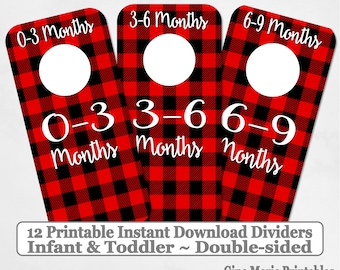 Printable 12 Baby Toddler Double-Sided Closet Dividers Red Black Buffalo Plaid Sizes NB-6 - DIY Instant Download - Baby Shower Gift Nursery