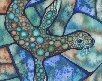 California SEA LION 5 x 7 print of watercolour salt artwork turquoise blue teal green ocean bubbles seal whale