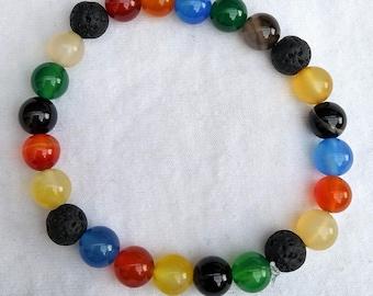 Semi precious gemstone and lava bead bracelet oil diffuser beads
