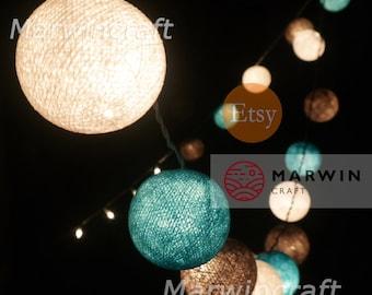 Beach Cottage String Lights Cotton Balls Fairy Lights Bedroom Home Decor Living Room Wall Hanging Lights Wedding Decor Dorm Battery & Plug