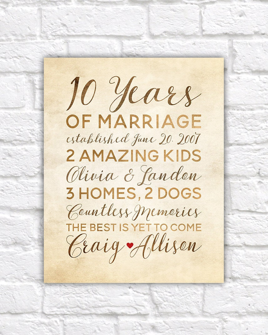 10 Year Anniversary Gift, Wedding Anniversary Decor, Rustic Art ...