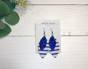 Layered Leather Earrings - Royal Stripe