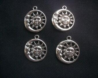 4 Celestial Moon and Sun Faces Pendants Silver Tone Metal 30mm