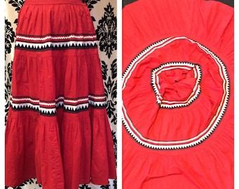 SENSATIONAL 1950s Red and abstract, Squaw Circle skirt
