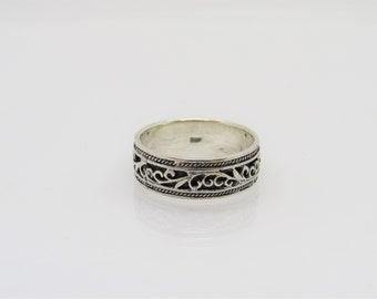 Vintage Tibetan Sterling Silver Filigree Band Ring Size 9