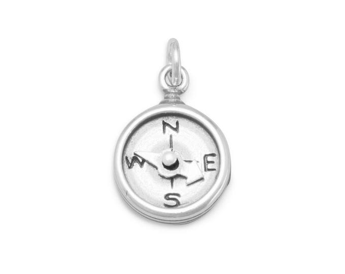 Featured listing image: Compass Charm 925 Sterling Silver Pendant Travel Hiking Scout needle turns