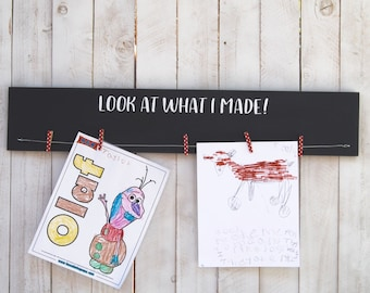 Kids Art Display Board, Personalize, clothes pin, Kids Room Decor, Children Decor, Child Art Display, Art Holder, photo display board, photo
