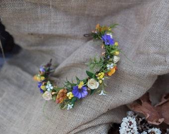 Floral half wreath Romantic autumn wreath Color half wreath Hair accessories Floral headband