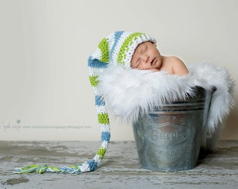 Long tail elf hat crochet newborn long tail hat photography prop long tail baby hat newborn photo prop newborn elf hat infant long tail hat