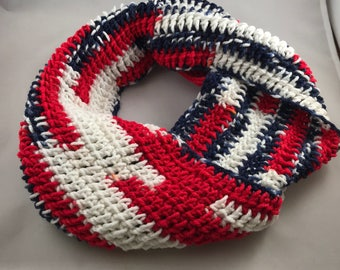 Patriotic Infinity Scarf Handmade Warm Winter