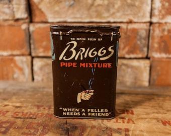 Vintage Briggs Pipe Mixture Tobacco Tin Brown Tobacciana Man Cave Rustic P. Lorillard Company