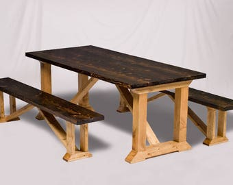 Farmhouse Table With 2 Benches