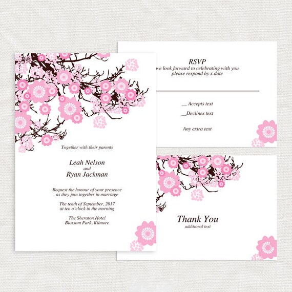 Captivating Items Similar To Cherry Blossom Wedding Invitation Template   Printable Diy  Download   Budget Friendly Bridal Shower Birthday Girl Pink Floral Flowers  ...