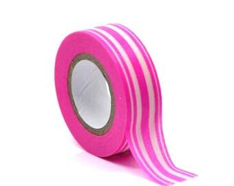 Washi Tape - Hot Pink Stripes Washi Tape - Japanese Masking Tape - 10 mt