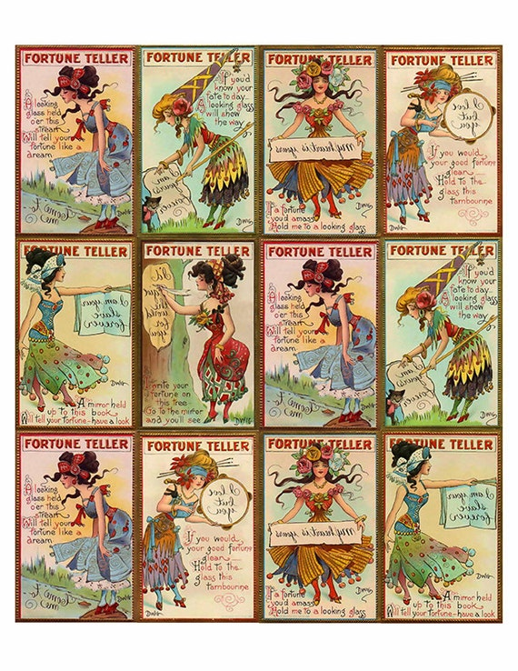 Completely new Vintage Gypsy Fortune Teller Cards - Ephemera - Clip Art - Digital  JH98