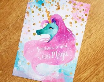 A4 Unicorn art, Sometimes We Need A Little Magic unicorn print, girls room unicorn wall art, unicorn art