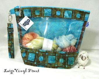 Plaid Batik - Knitting Project Bag, Zippered Project Bag, Knitting Wedge Bag, Vinyl Front Bag, Yarn Tote Bag, Yarn Bag, knitting bag,