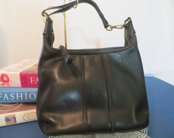 Vintage Coach Black Leather Handbag