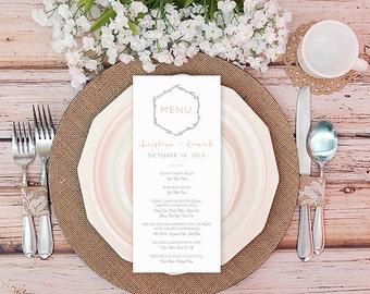 Rustic Wedding Menu - Printable DIY - Minimalist Wedding - Simple - Pink - Gray - Bilingual Wedding Dinner Menu - Christine
