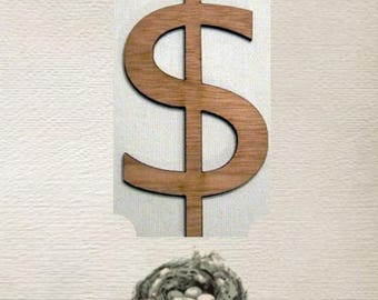 Dollar Sign Wood Cut Out