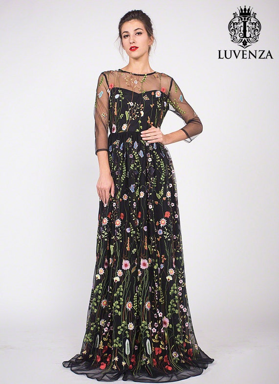 Drei Viertel Ärmel Blumen bestickte Tüll Abendkleid schwarz