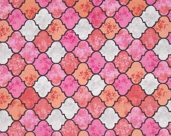 Pink Migration Quatrefoil (Tangier Tiles) from Michael Miller's Migration Collection