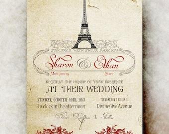 Vintage Paris Wedding Invitation  - Eiffel Wedding Invitation,  wedding invitation,  printable wedding invitation