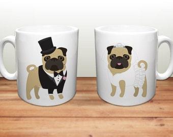 Pug Coffee Mugs - Wedding Pugs Ceramic Mugs  - Pug Lover Wedding Gift - Pug Mugs - Set of 2 Mugs - Pug Lover Gift - Pug Wedding