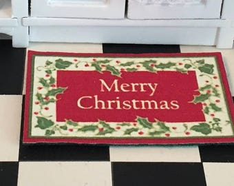 Miniature Merry Christmas Mat, Welcome Mat, Door Mat Rug, Dollhouse Miniature, 1:12 Scale, Dollhouse Accessory, Holiday Decor