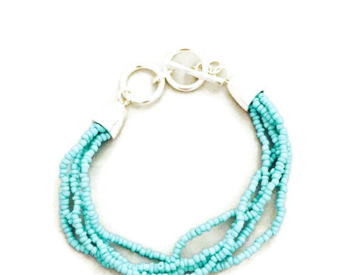 Seed Bead Bracelet, Multi Stand Seed Bead Bracelet, Mint Color Seed Bead Bracelet, Toggle Clasp- 7-8 inches