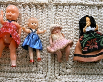 Four (4) Miniature Celluloid Dolls In Original Outfits, Vintage Plastic Dolls, Doll House Dolls, 1940's, Lot of Four Dolls