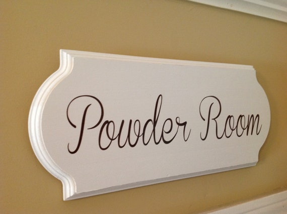 Powder Room Sign Wooden Sign Bathroom Decor Wall Decor Wooden