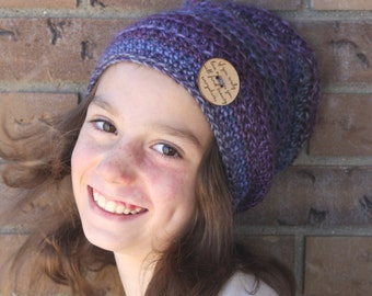 Subtle Stripes Slouchy Hat pdf PATTERN, newborn to adult sizes, slouchy hat/beanie to crochet, digital download