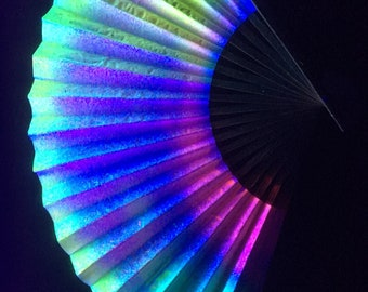 UV reactive paper fan hand painted