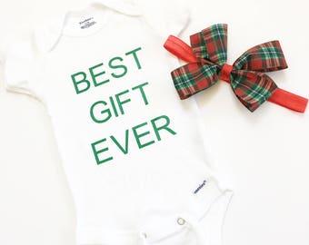 Best Gift Ever Bodysuit, Babies Xmas Bodysuit, Christmas Tee Shirts, Personalize Baby Bodysuits, Custom Baby Bodysuits, Baby Shower Gift
