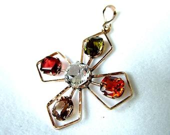 Victorian Gold Sapphire Cross Pendant * Antique Gold Pendant * Gold Pendant * Antique Gold Cross * Gold Maltese Cross * 9ct  Cross
