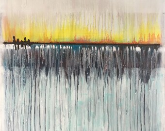 Deep Blue Horizon Abstract Original Painting By Artist Rafi Perez Mixed Medium on Canvas 30X30