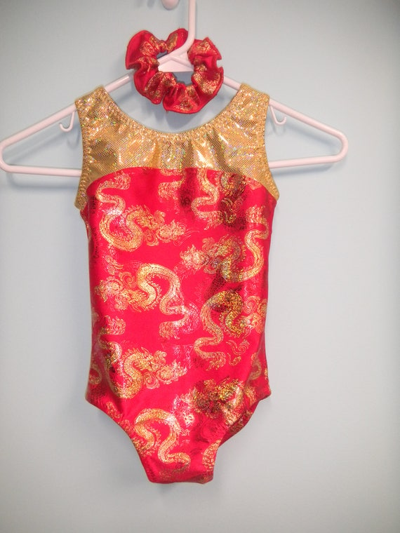 New Gymnastic Leotard Red with gold Chinese Dragons