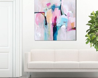 Abstract painting large, pink blue, abstract art print, abstract print pink blue, abstract canvas art large, abstract giclee print, pastel