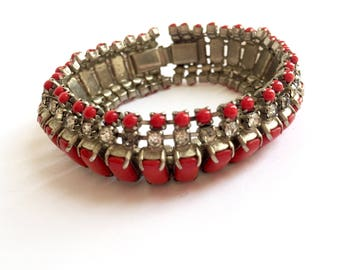 Vintage Art Deco Rectangle Red Stones and Clear Rhinestones Bracelet From The 1940s