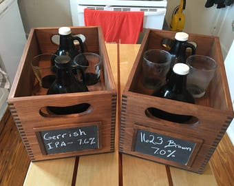 Beer Growler and Pint Glass Crate