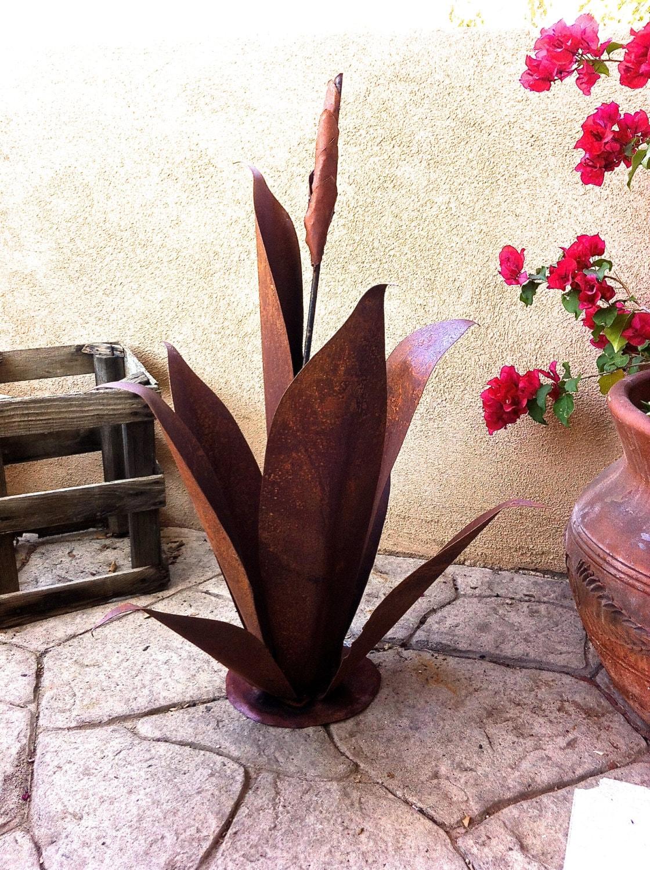 Budding Agave Rustic Metal Garden Sculpture Metal Cactus