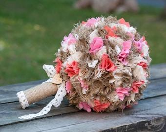 Wedding Bouquet, Fabric Bouquet, Bridal Bouquet, Alternative Bouquet, Handmade Bouquet, Rustic Bouquet, Pink Bouquet, Burlap Bouquet