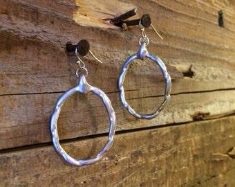 Dainty Brushed Silver Earrings