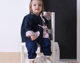 Girls jacket reversible navy / cherry print