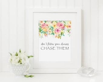 Inspirational Art Print, Nursery Wall Art, Dream Nursery Art, Inspirational Quote, Motivational Art Quote, Girls Nursery Decor, Pink Nursery