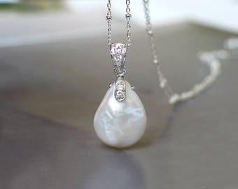 Baroque Coin Drop Pearl Pendant | Large White Freshwater Pearl | CZ Pavé Rhodium Sterling Silver Pendant Necklace | Bridal | Ready to Ship